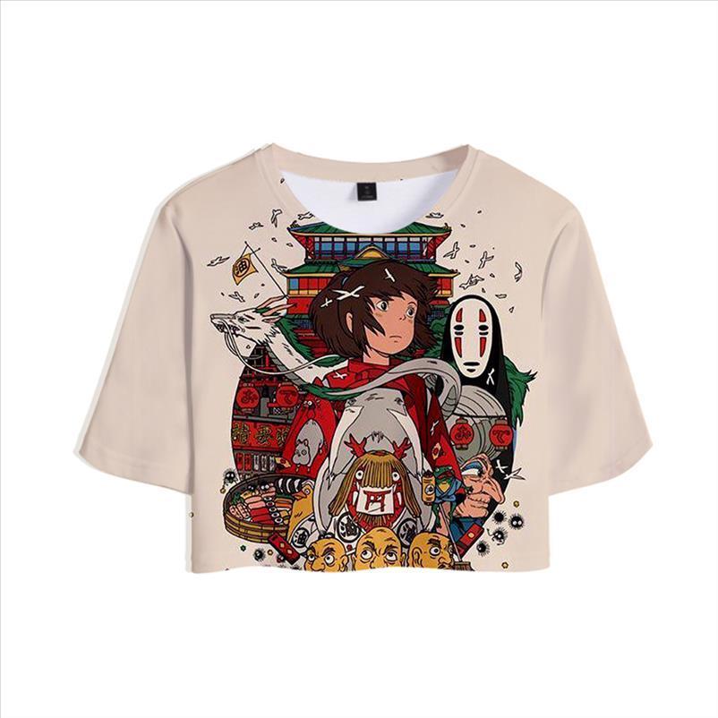 Miyazaki hayao espirredido fora t camisa de menina de Ogino camisa venda colheitas chihiro filme 3d curto tops mulheres sexy camisa casual roupas jnbke