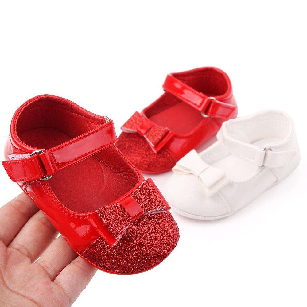 Детская обувь Весна Мягкая единственная девушка PU First Walkers Fashion Baby Girls Обувь Бабочка-Узел Первая подошва Детская обувь
