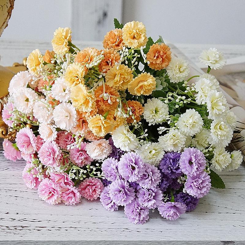 Künstliche lila Blumen Bündel Hochzeit Holding Flores Bouquet Home Party Garten Dekoration 5 Niederlassungen 20 Köpfe JK2102XB
