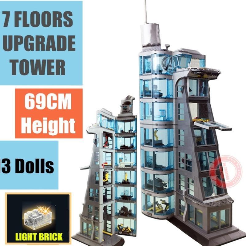 NOUVEAU UPTÉRADAD 7 étages Super Iron Heroes Starks Industrie Giant Tower Homme Figurines Streetview Bâtiment Bloc Brique Kid-cadeau Jouet