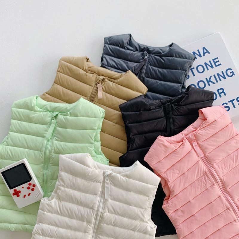 Toddler Kids Down Down Down Gilet 2021 Winter Nouveau bébé Girls Solide Gilet chaud Vest Casual O-Cou Zipper Down Wayctoat pour garçons 2-7 ans