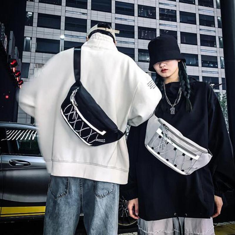 Hombres Mujeres Hombre Hop Femenino Bolsa Reflectante Hip Bag Messenger Cofre Cinturón Hombro Crossbody Cintura Hichw