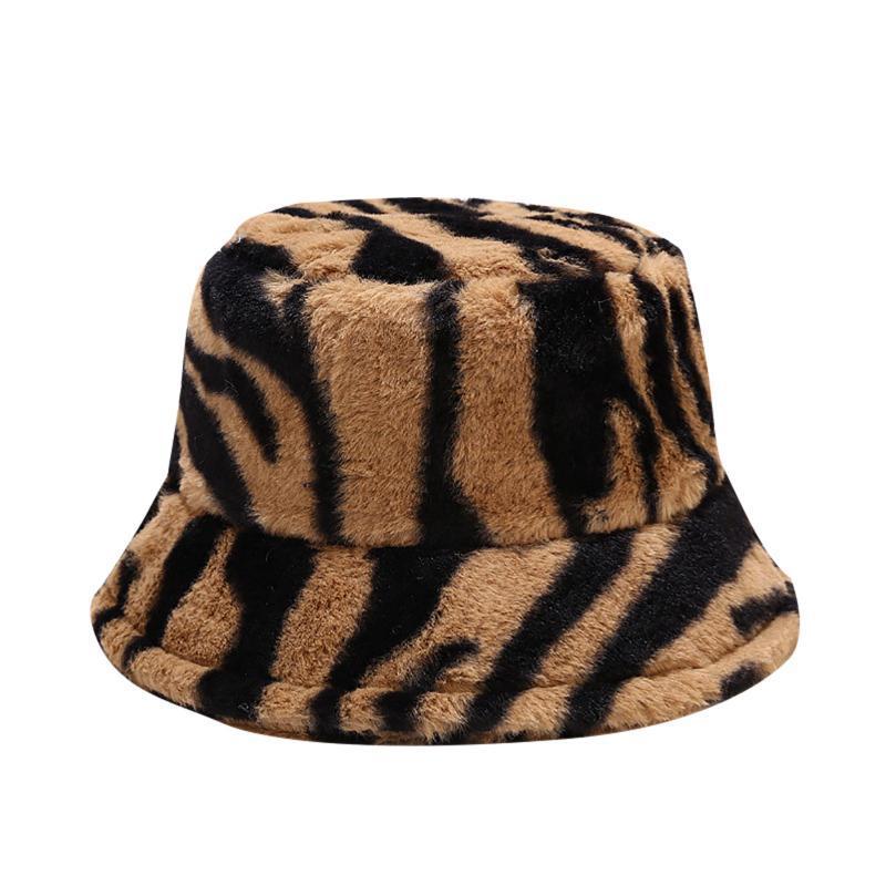 Larges chapeaux brim-dents hommes femmes hiver chaudran coupe-vent rayures print thermique chapeau de peluche de peluche de pêche bassin bouchon godet de la mode extérieure