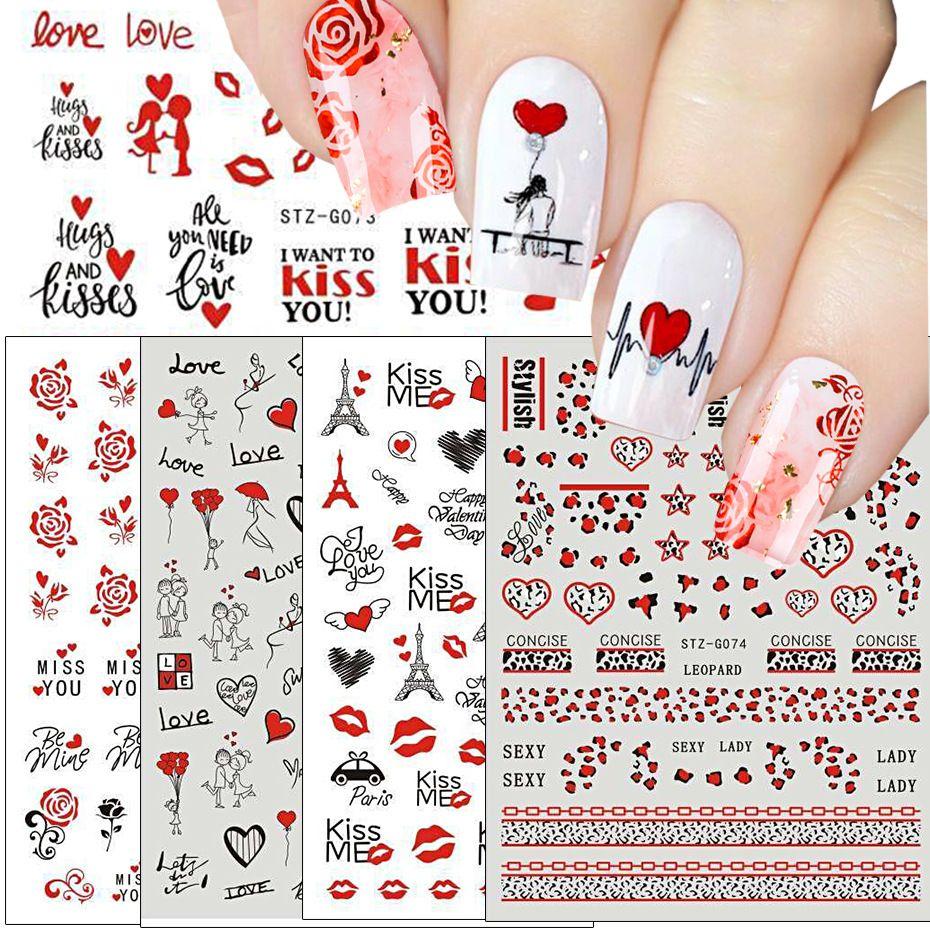 عيد الحب مسمار ملصقات الفن روز كيوبيد الحب القلب الشفاه الأحبة يوم سلسلة الظهر الغراء عشاق ملصقات الأظافر روز