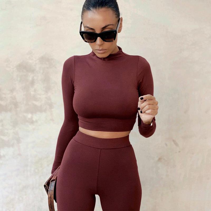 Yoga Outfits 2021 Autumn Seamless Gym Set Women Solid Long Sleeve Clothing Fitness Sports Suit Ropa Deportiva Mujer