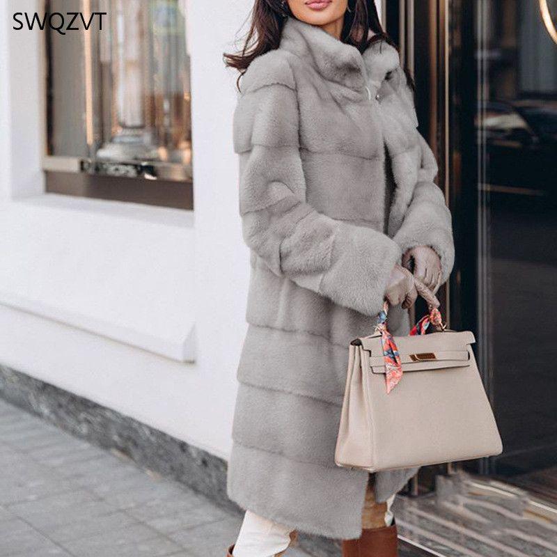 SWQZVT Warm Solid Color Women Parkas Fashion Long-Sleeved Stand Collar Fur Stitching Long Ladies Coat Winter Jacket 210203