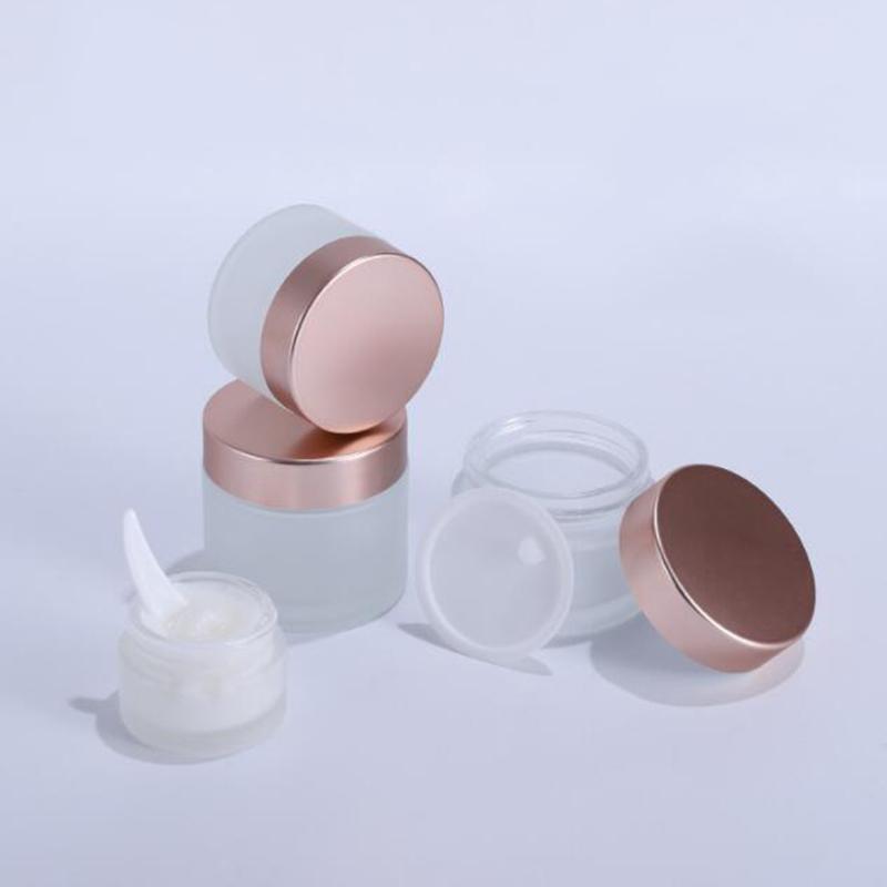 Yeni Buzlu Cam Kavanoz Krem Şişeleri Yuvarlak Şekil Kozmetik Kaplar Yüz Kremi Makyaj Paketleme Gül Altın Kaplı