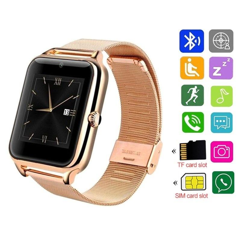 Z60 Bluetooth Smart Watch Stainless Steel Smart Bracelet Support SIM TF Card Camera Fitness Tracker Smartwatch For Men IOS Android Phone