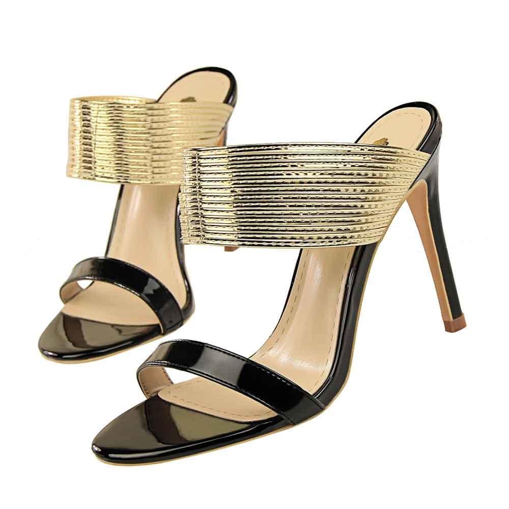 Marca de moda High Leap Summer Metal Libre Air Plataforma Vintage Zapatos de mujeres en la fiesta de las mujeres Gold Iz1e