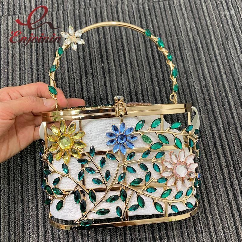 Sacos de noite Saco de festa de diamante para mulheres chique designer bolsa colorido flores e folhas bolsas gaiola metálica saco de casamento de luxo1