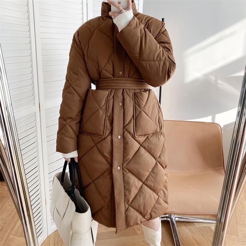 Moda Kadınlar Uzun Pamuk Yastıklı Parkas Kadın Rahat Kalın Sıcak Kış Mont Boyu Gevşek Ceket Giyim WP55 201212