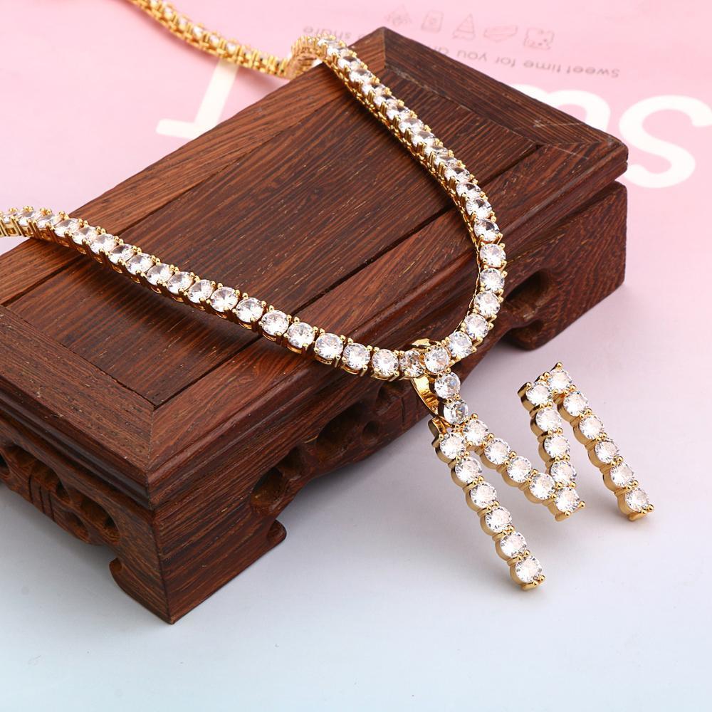 5mm Zirkon Tennis Brief Halsketten Hip Hop Schmuck Tennisketten Halskette Schmuck Anfängliche Halskette Brief Halskette Für Männer / Frauen Q1121