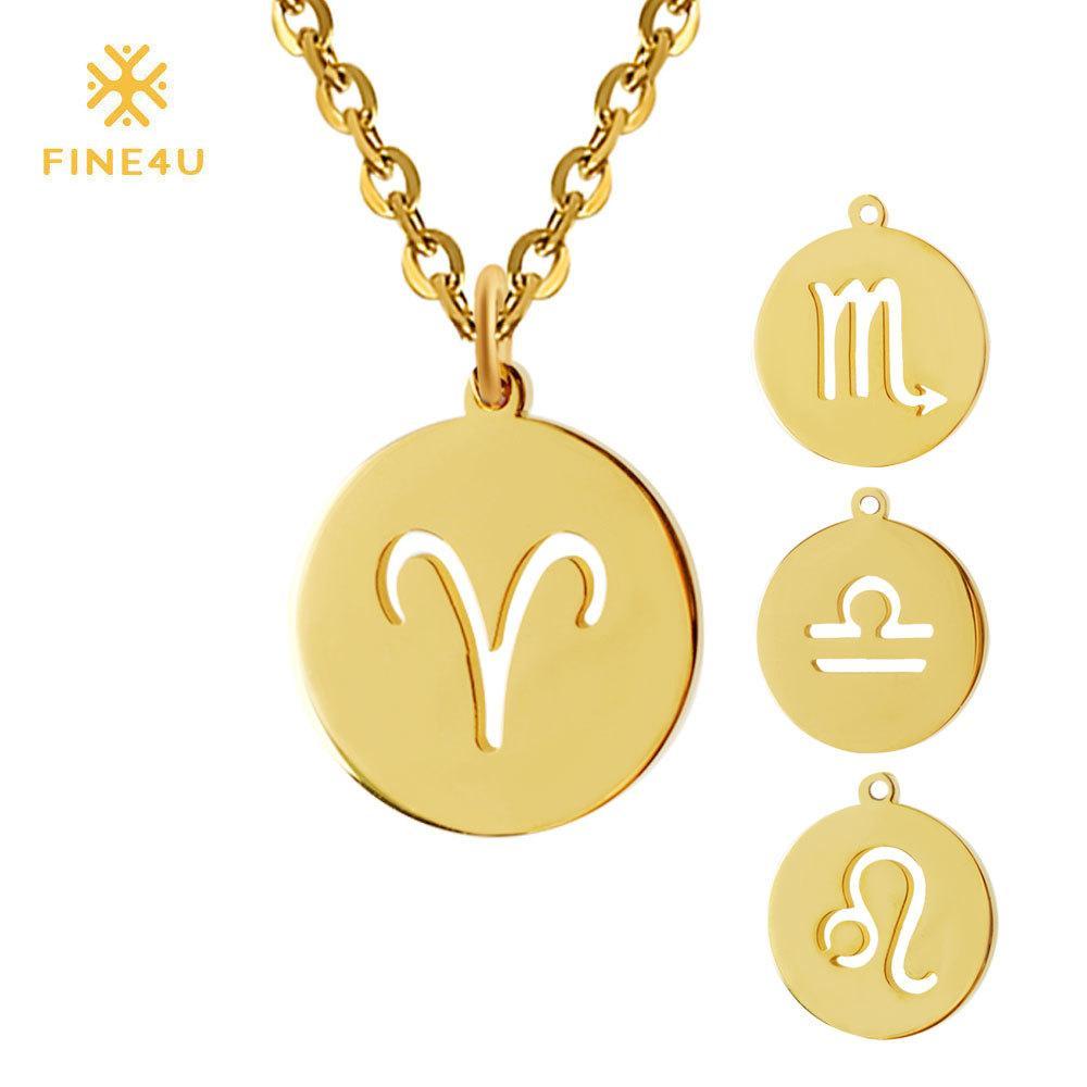 Fine4U 12 Zodiaco Moneda Colgante Collar 316l De Acero Inoxidable Collares Collares Gargantilla Para Mujeres 2019 Oro Collier de la Joyera