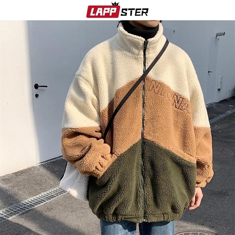 Lappster homens bordados jaqueta jaqueta casaco inverno jaqueta mens patchwork morno parka masculino harajuku coreano moda windbreaker 201027