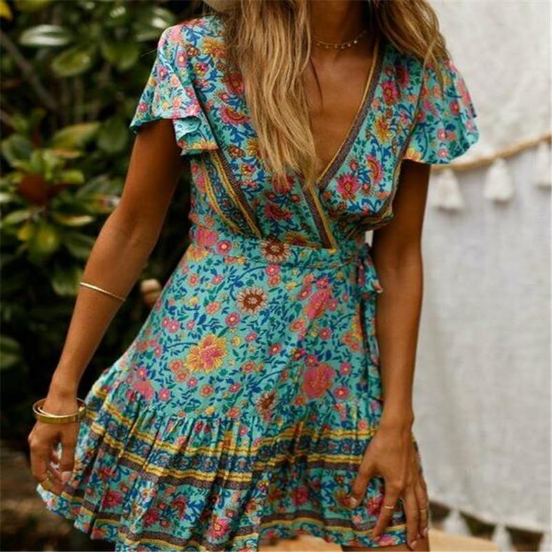 Günlük Elbiseler İngiltere Kadınlar V Boyun Elbise Wrap Yaz Boho Çiçek Paisley Mini Baskı Bayanlar Tatil Plajı