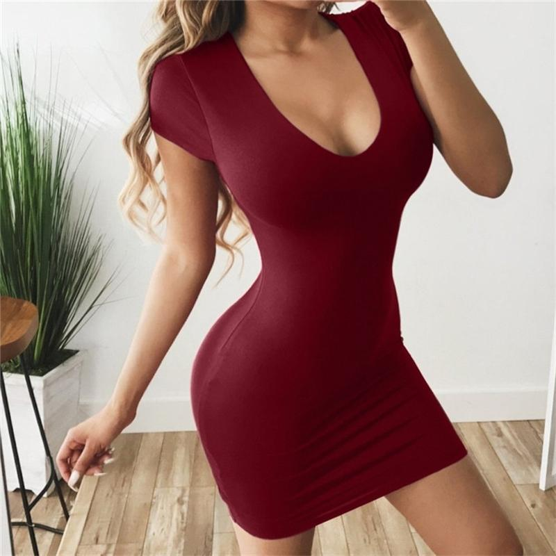 Miarhb Womens Kleid Vestido Kurzarm Slim Bodycon-Kleid Tunika Rundhalsausschnitt Casual Bleistift Kleid Neue Ankunft Sommerkleid A30 Y200418