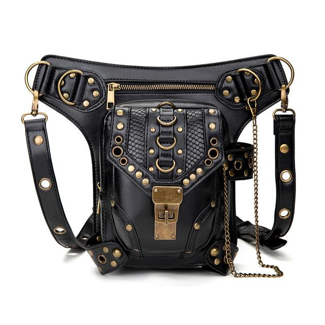 hand chain bag for women Steampunk vintage motorcycle bag for women One-shoulder cross-body bag for women Fanny pack