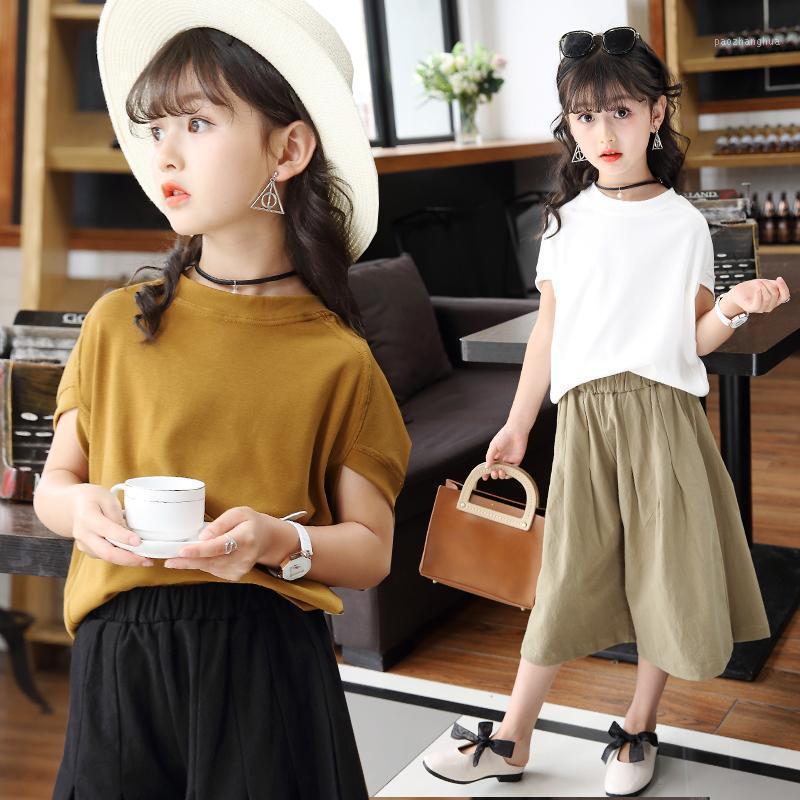 Новые летние девочки набор одежды Детская хлопковая летучая мышь рукав футболки + широкие брюки ноги подростковые девочки рюшиные наряды 3 7 10 12 лет1