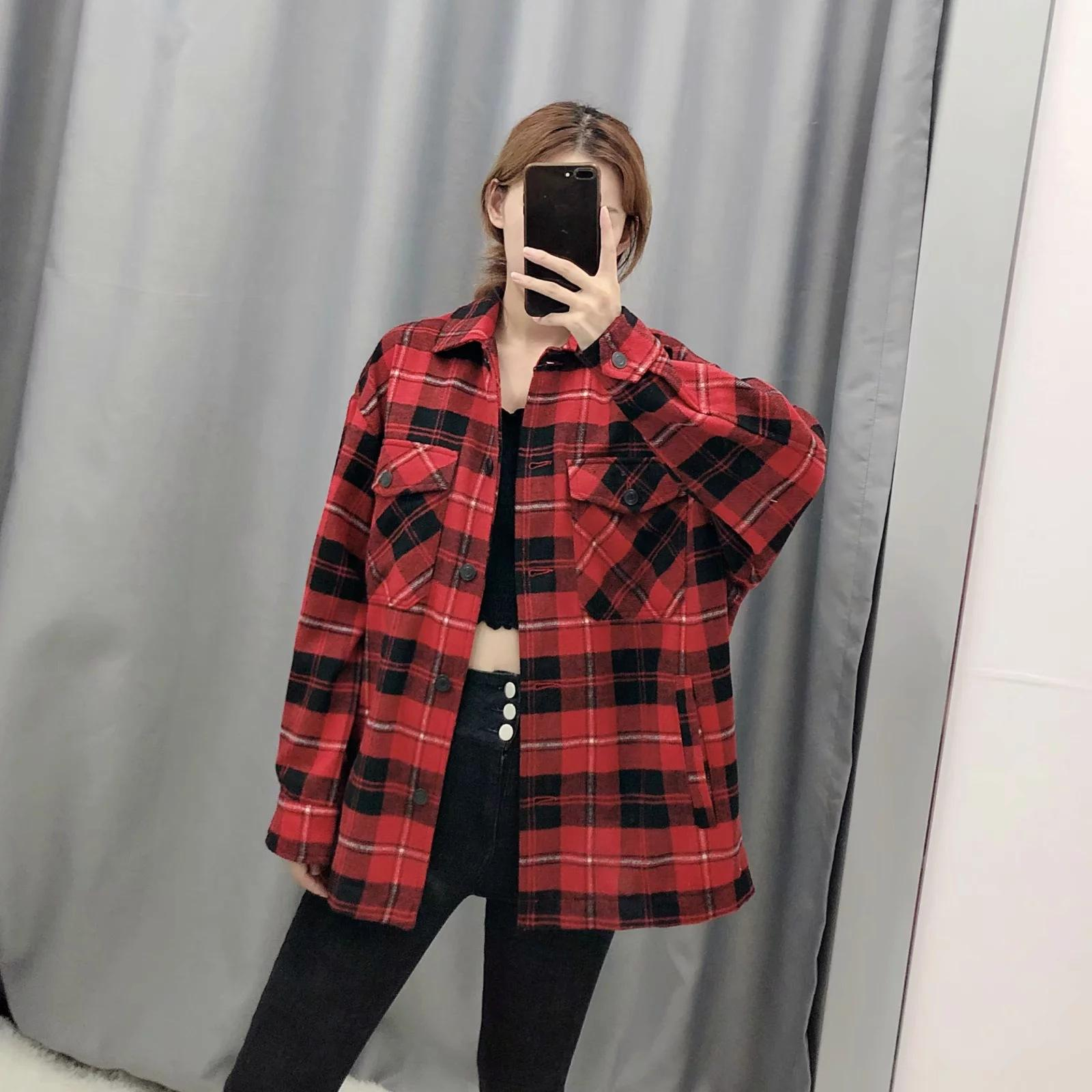 2020 Moda Yaka Yaka Uzun Kollu Gevşek Ceket Chic Top Cep Boyu Çek Ceket