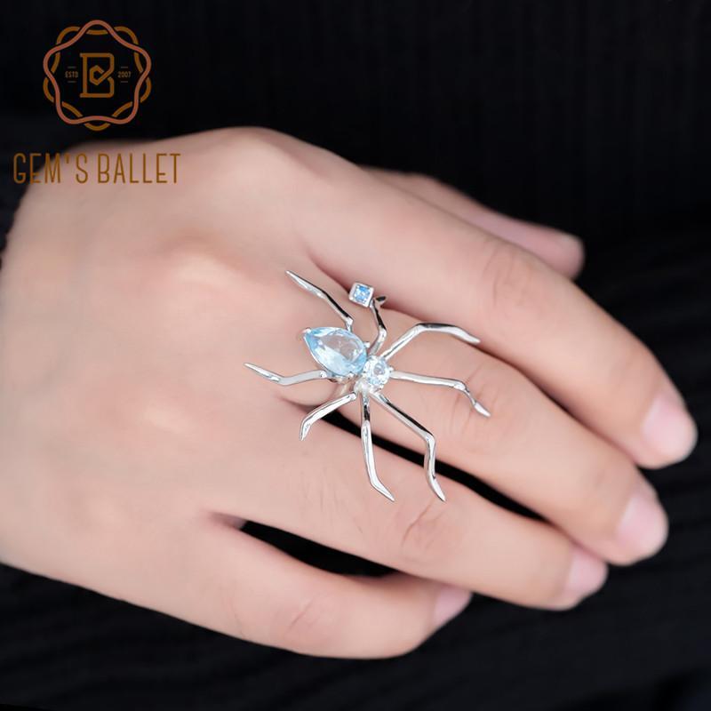 Gem's Ballet Share Share Naturel Bleu Topaz Bague 925 Sterling Silver Gemstone Animal Punk Anneaux Pour Femmes Party Funny Cadeaux Q1116