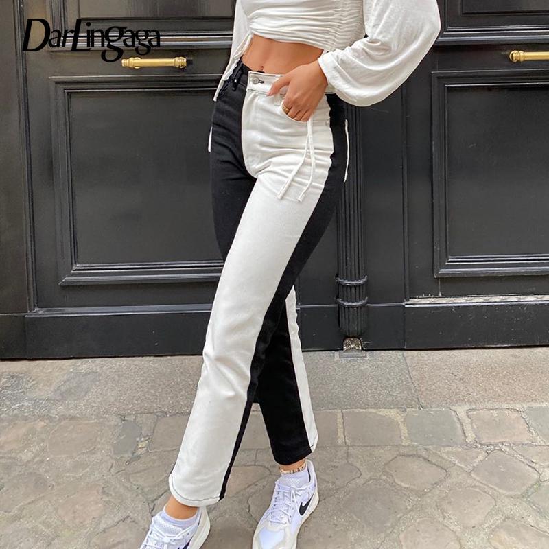 Darlingaga moda preto preto patchwork y2k mulher jeans skinny magro cauda alta denim esbeltos brovek novo
