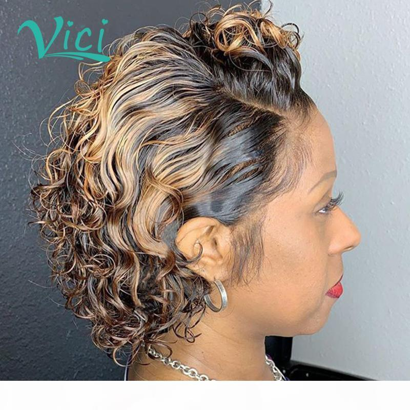 Ombre pixie corte peruca cor colorida dianteira perucas de cabelo humano pré-replangido curly curly Bob 150% brasileiro Remy Honey Wig loira para as mulheres
