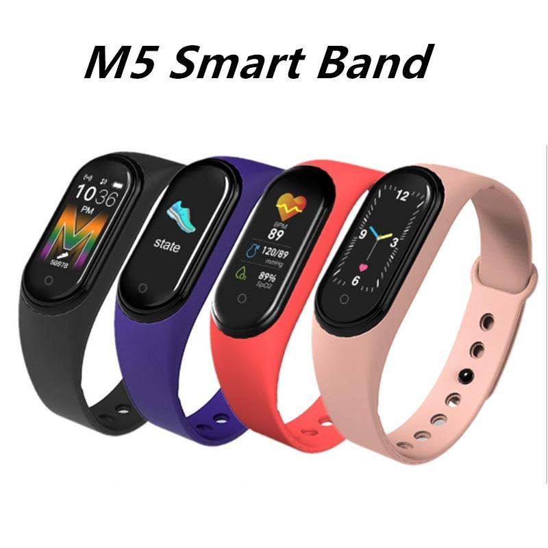 M5 스마트 팔찌 남자 피트 니스 스마트 팔찌 여성 스포츠 트래커 Smartwatch 놀이 음악 팔찌 M5 밴드 Adriod iOS