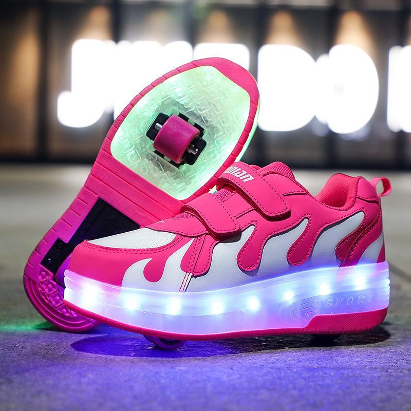 Risrich Kids LED USB зарядки роликовых ботинок светящиеся света вверх светящиеся кроссовки с колесами детские ролики кататься на коньках обувь для мальчика девушек 201130