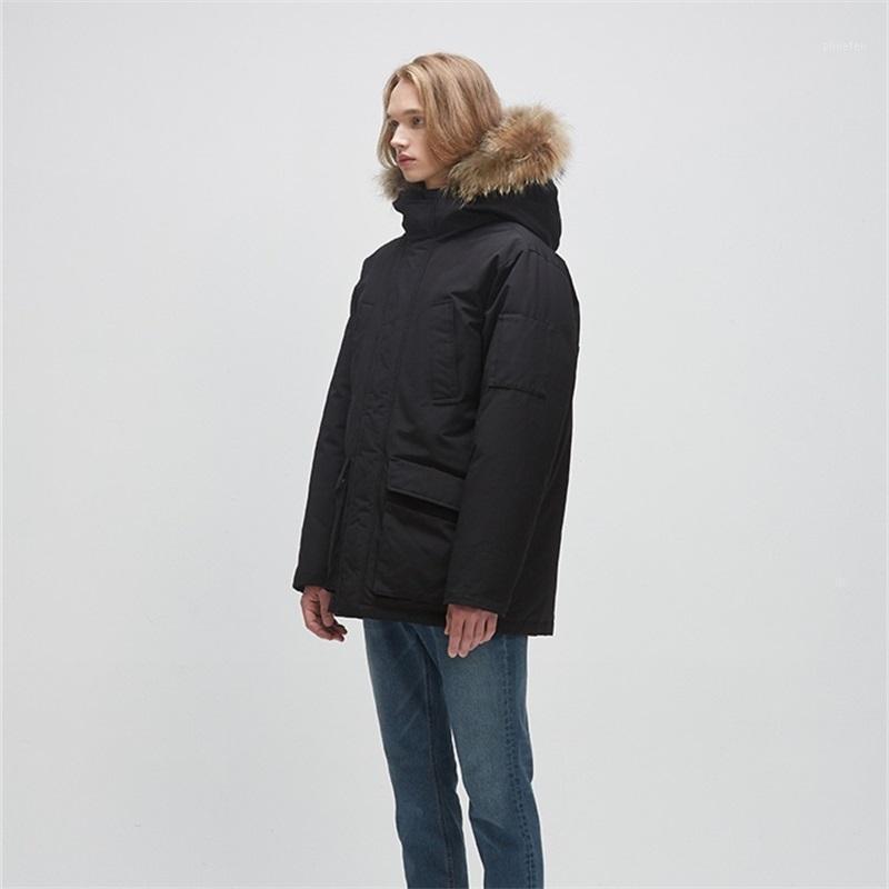 2020 зимние теплые куртки с капюшоном женщины сплошные черные двойные карман толстые хлопчатобумажные парку женские наружные свободно негабаритные