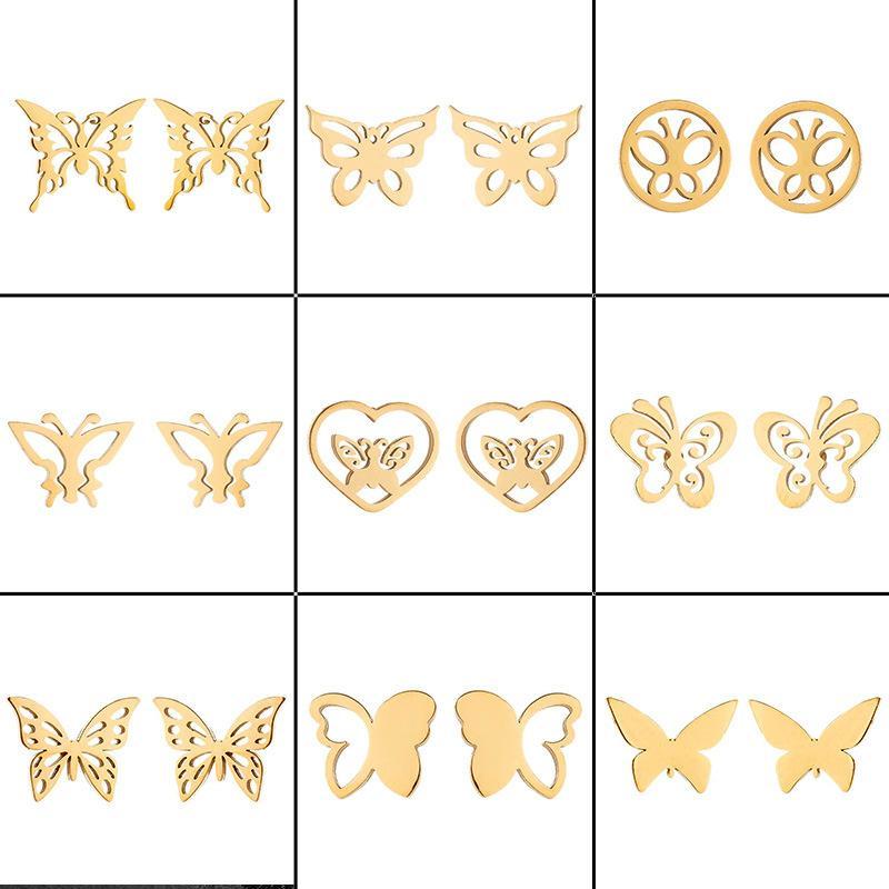 Новая бабочка Шпильки Женские Мори Стиль Свежий Нержавеющая Сталь Небольшое животное Разнообразие Бабочка Ушные кольца