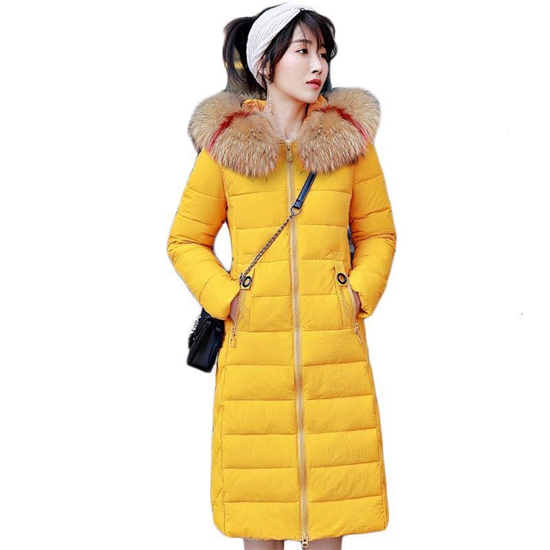 2021 Nuovo cappotto invernale femminile giallo M-3XL Plus Size Down Giacca in cotone Nuovo autunno sottile sottile coreano moda parka calore
