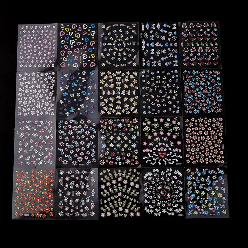 30 Yaprak Rastgele Tasarım 3D Tırnak Sticker Şeffaf Alt Renkli Çiçek Kelebek Serisi Tırnak Etiket Dekorasyon