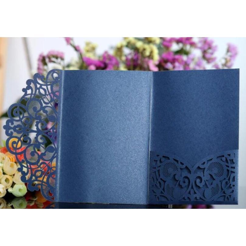 Glittery Wedding Invitation Cards Kits Spring Flower Laser Cut Pocket Bridal Invitation Card For Engagement Gradu jllAZC ladyshome
