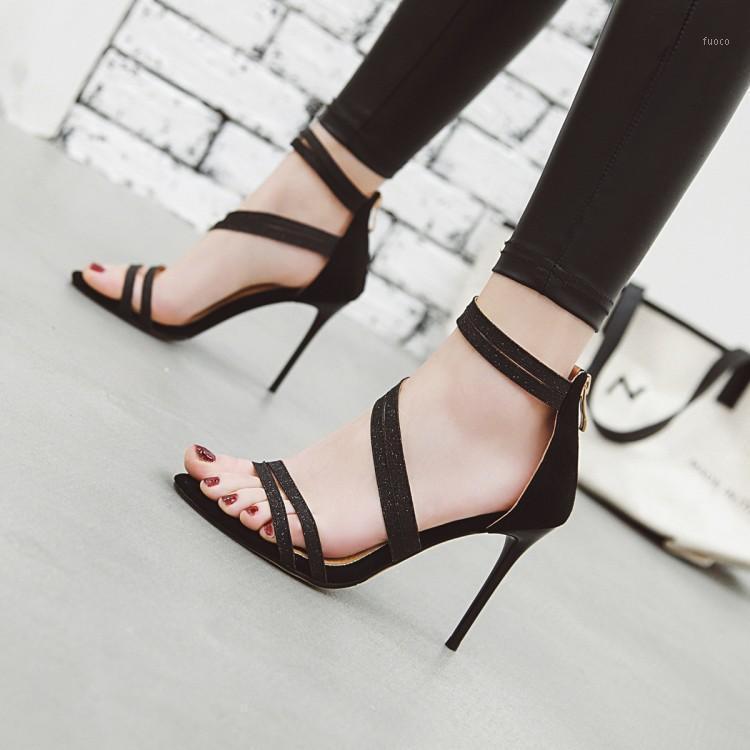 Große Größe High Heels Sandalen Frauen Schuhe Frau Sommer Damen Schlanke High-Heeled Schuhe mit einseitigen Saiten1
