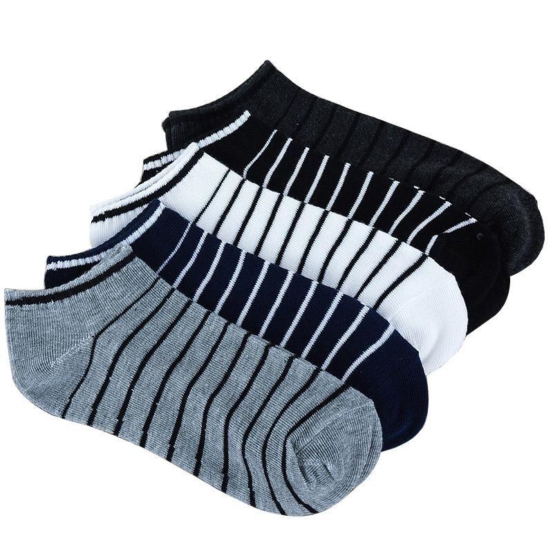 Мужские носки 5 цветов мужчин носки пары = 10 шт. / Лот пакет мужской летний светло-полоса хлопок короткие оптовые пары продажа
