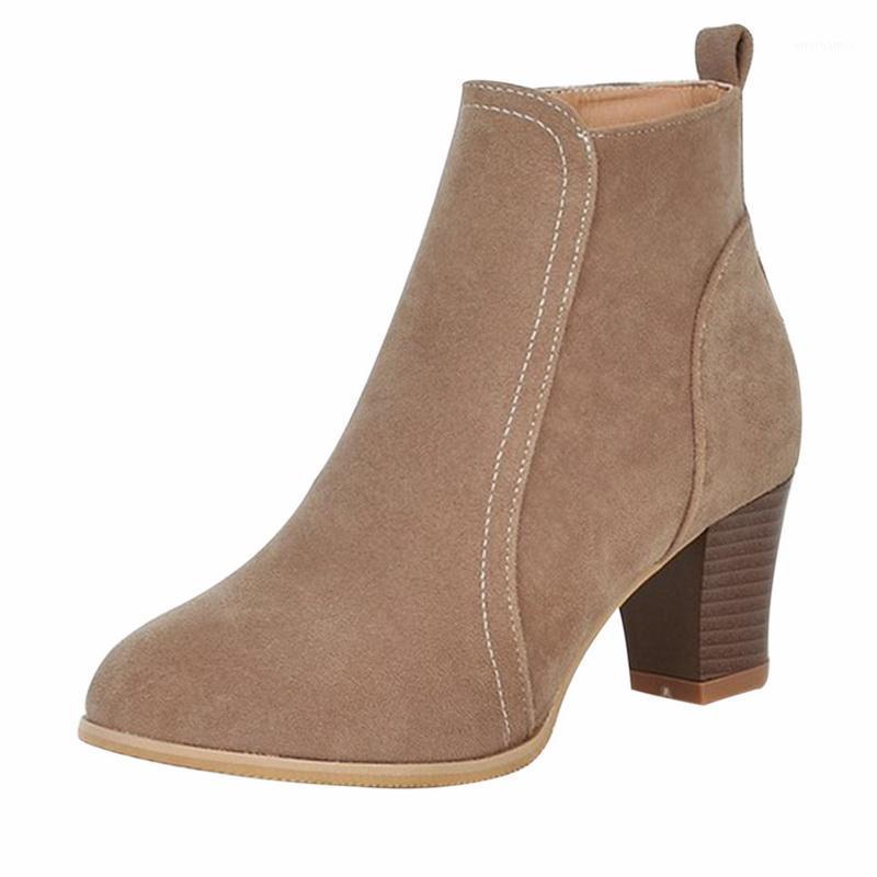 2019 النساء الأحذية قطيع الكاحل التمهيد الخريف الشتاء النساء الصلبة أحذية منتصف كعب تمتد النسيج الأحذية زائد الحجم 35-421