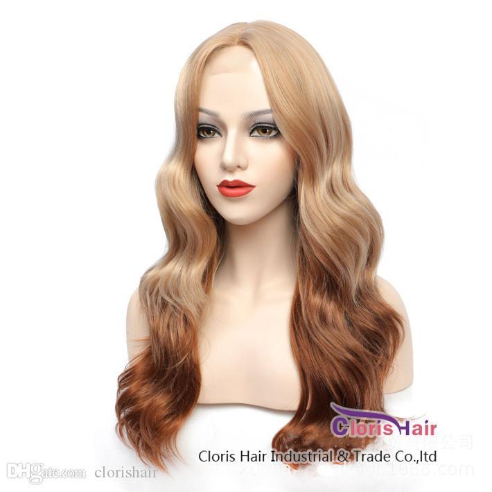 Brown blonde ombre perruque longue perruque de dentelle synthétique ondulée pour femmes pré-cueillies de couleur blonde perruque blonde blonde perruque sans glace avec cheveux bébé
