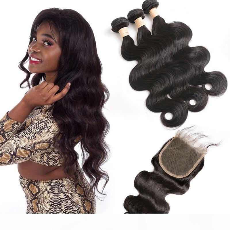 Бразильские распределенные 9А человеческие пачки волос с 5x5 кружевной замыкающей волны тела 4 штуки. Разрешения волос девственницы с 5 на 5 закрытие