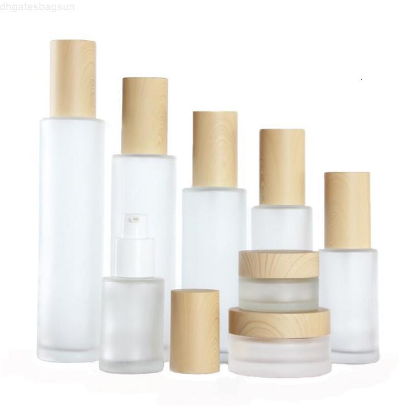 80ml 20ml 30ml 40ml 50ml 100ml de crema de escarcha de 60 ml con tapa de madera tapa congelado botella de vidrio botella de rociado recipiente cosmético tarro