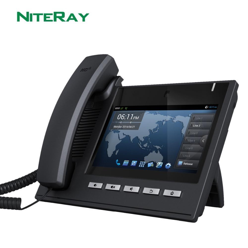 """Android 4.2 ОС, 6 линии SIP, IP-телефон SIP / VoIP с 7 """"TFT 800x480 Сенсорный экран Поддержка POE Функция Y1128"""