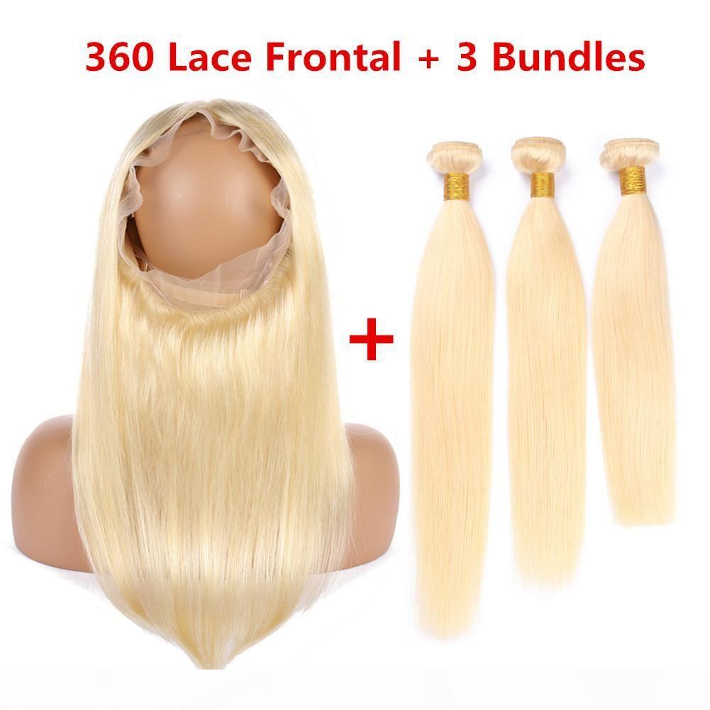 """Bleiche blonde peruanische Haarbündel mit 360 Spitzenverschluss 22.5x4x2 """"gerade # 613 blonde menschliche haare feave bündel mit 360 spitze frontal"""