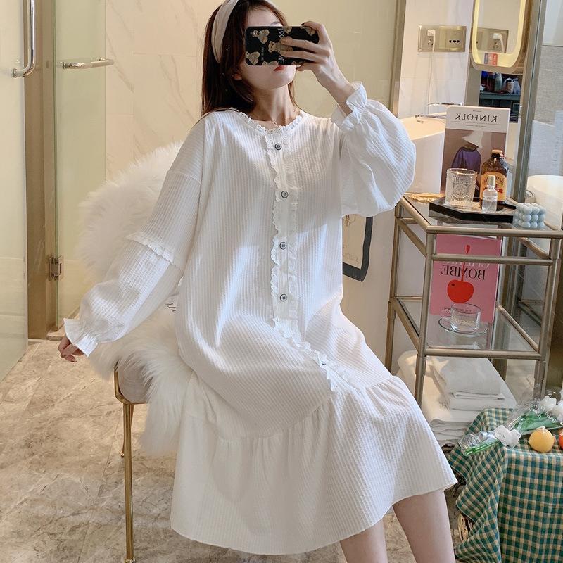 espuma primavera y otoño encaje princesa pijama lady algodón manga larga de longitud mediana vestido de casa