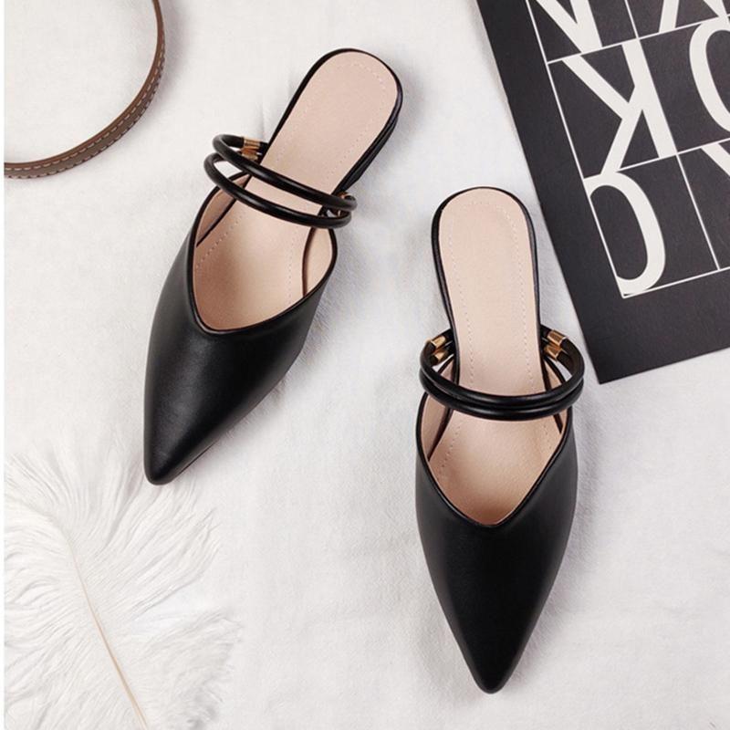 Yeni Kadın Siyah Sivri Burun Katırları Slaytlar Tatlı Bayanlar Düz Alt İki Giyim Dış Tembel Topuk Mülleri Artı Boyutu Sandalet