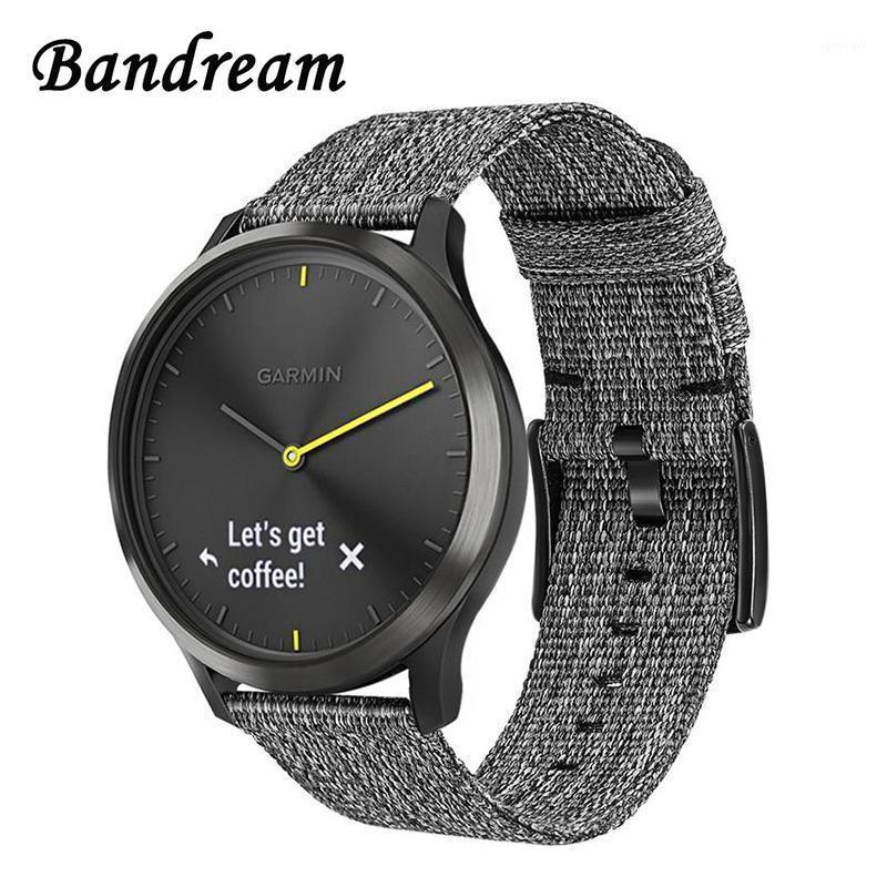 Watchband in nylon su tela per Garmin Vivoactive 4 / 4S / Venu Luxe Style Vivomove 3 3S HR Quick Spilletto a sgancio rapido Guarda Band1