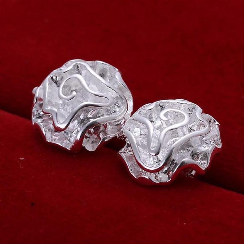 وردة جميلة أقراط الأزياء الفضة colorjewelry المصنع مباشرة هدايا عطلة شحن مجاني e003 جميلة روز h jllxcx