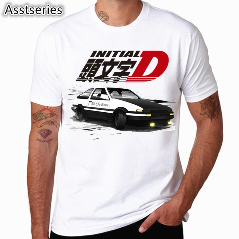 Мужчины Print Drift Японская аниме мода футболка с короткими рукавами O шеи летний крутой повседневный AE86 начальный d homme tshirt c0119