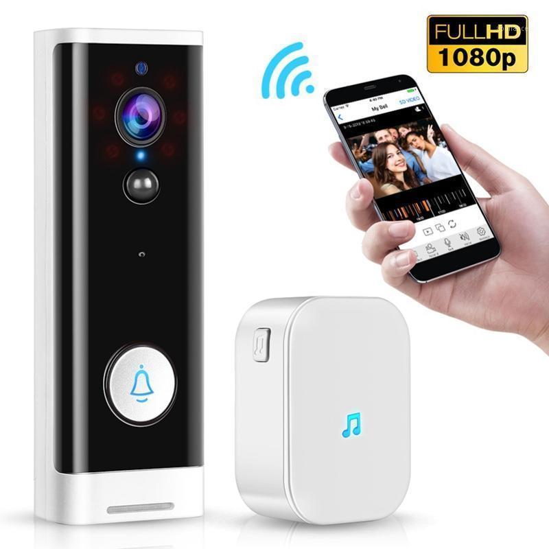 1080p wifi sonnette pir moniteur moniteur 2 voies caméra vidéo TUYA SMART SMART LIFE App Contrôle de la porte Bell + Ding Dong UE Plug1