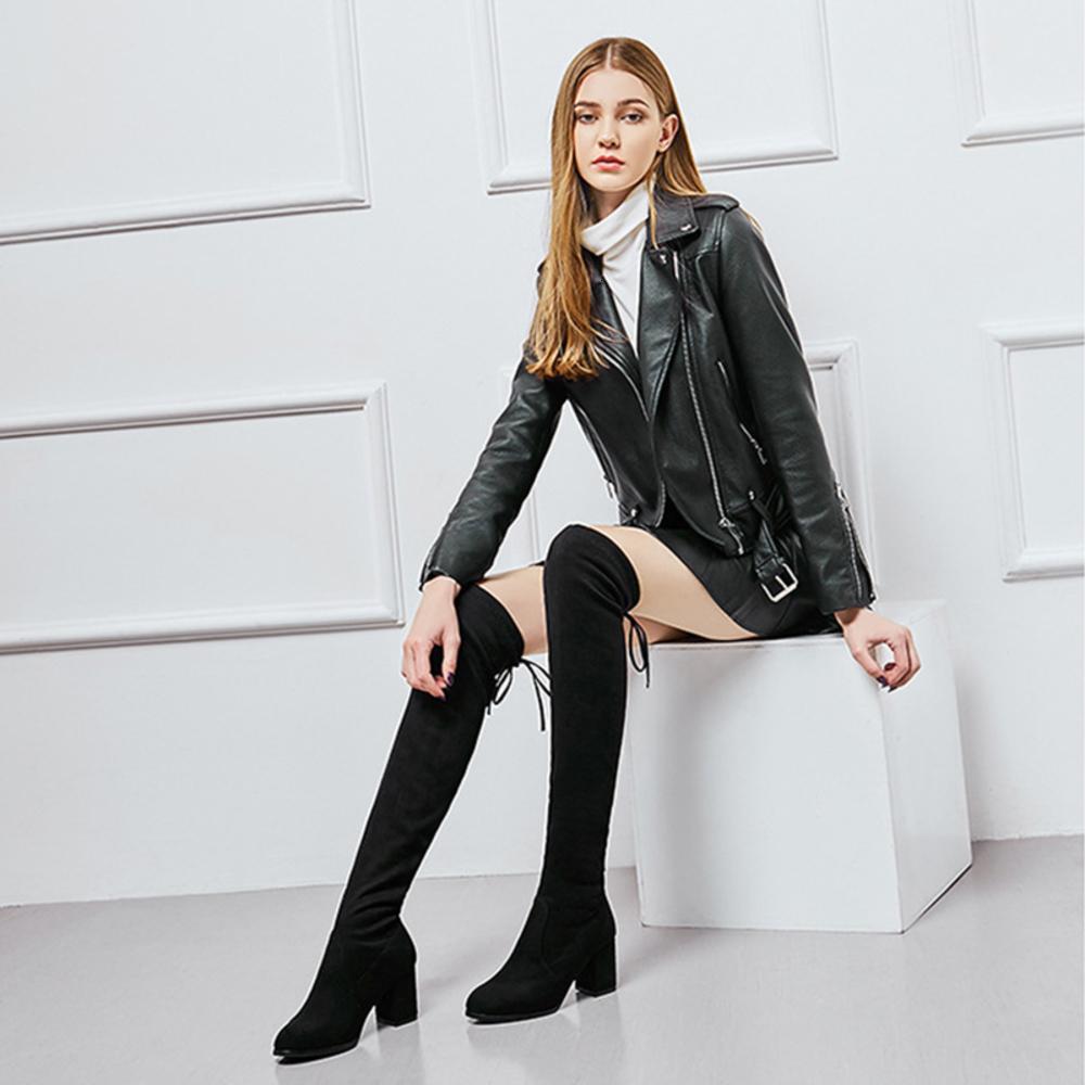 العلامة التجارية الجديدة الأزياء والأحذية النساء زائد حجم كبير 35-40 فوق الركبتين dunne عالية الكعب مثير حزب laarzen 2020