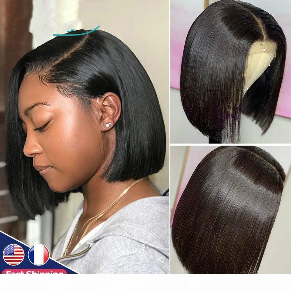 Perruque frontale en dentelle, cheveux courts de dames, perruque naturelle de cheveux, perruque frontale en dentelle droite brésilienne
