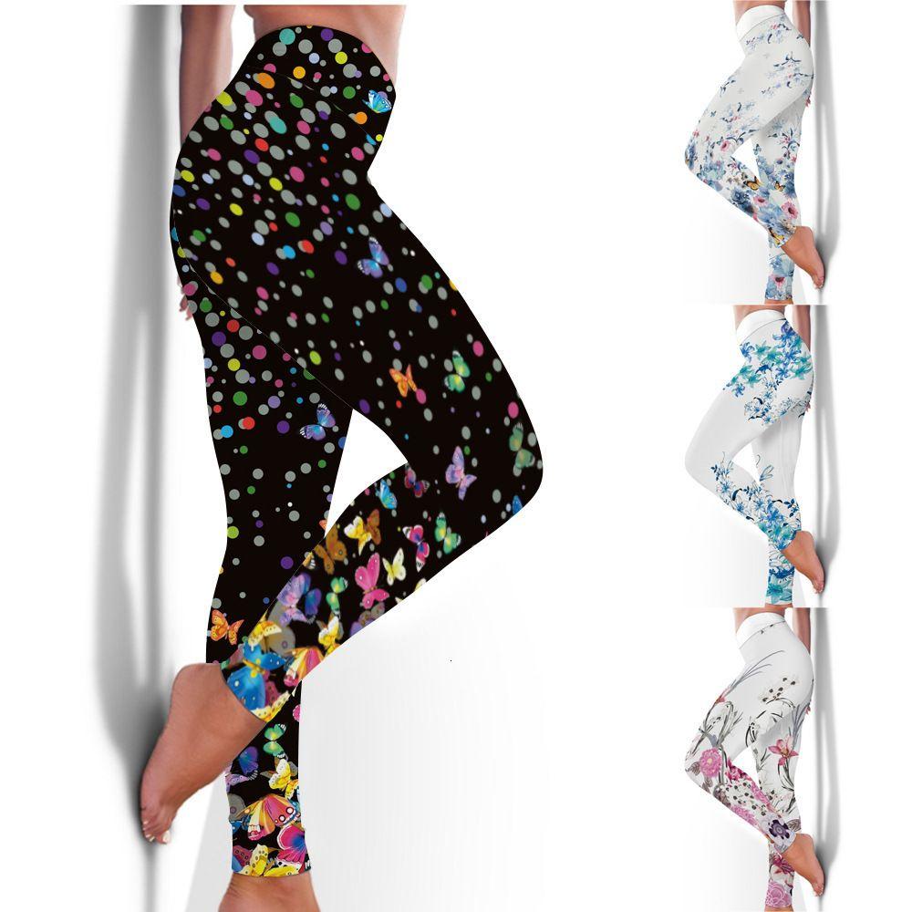 2020 Nuevo Traje de Yoga Profesional Fitness Slim Abajo Pantalones de impresión